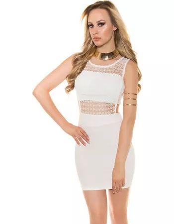 22641N Μίνι Κροσέ Φόρεμα Άσπρο