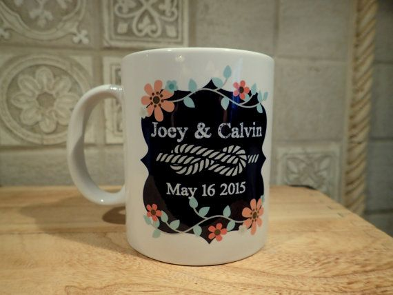 Check out this item in my Etsy shop https://www.etsy.com/listing/228354851/wedding-mug-personalized-gift-for-bride