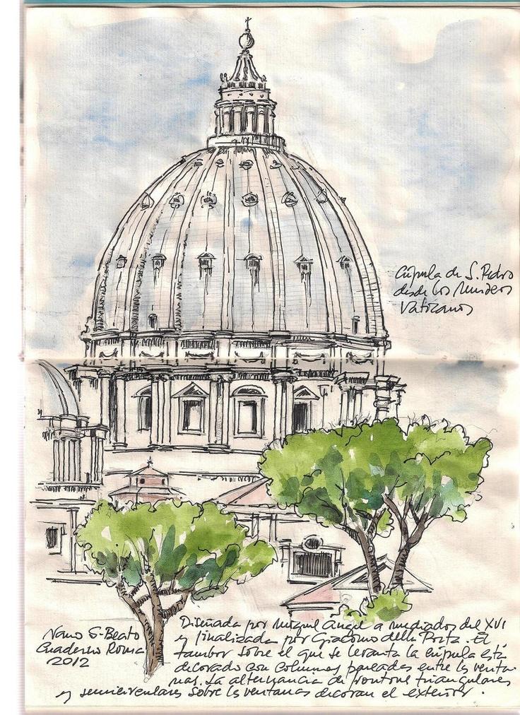 Cuaderno Roma 2012. Nano S-Beato. San Pedro desde los Museos Vaticanos.
