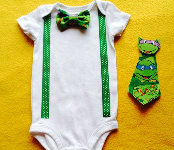 Hey, I found this really awesome Etsy listing at https://www.etsy.com/listing/242869358/boys-ninja-turtle-onesie-choice-of-bow