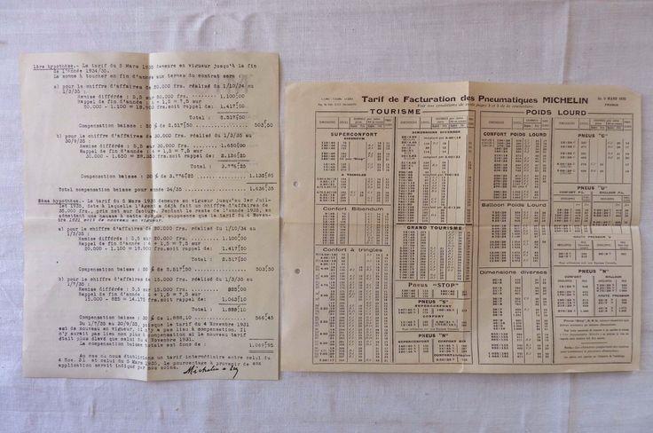 MICHELIN & Cie Tarif +Facture Garage 1935 Réf 04 in Collections, Objets publicitaires, Publicités papier, Autos, tracteurs | eBay