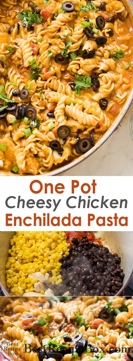 One Pot Cheesy Chicken Enchilada Pasta Recipe is comfort food for the soul!   @bestrecipebox