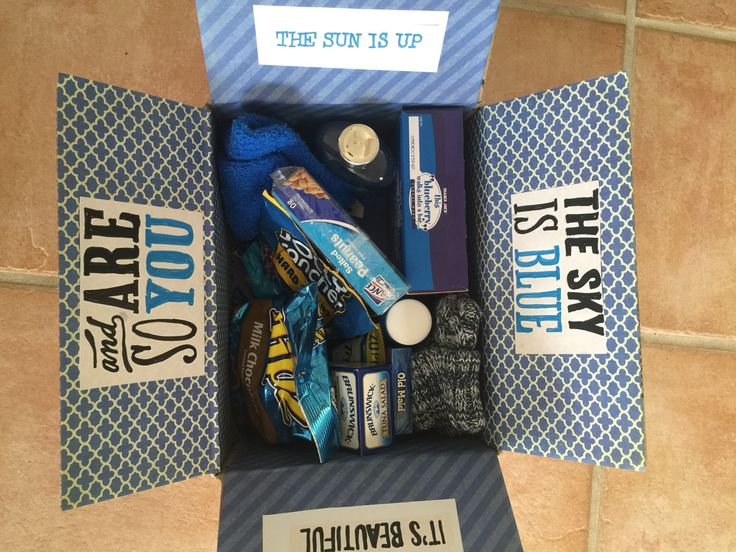 Care package female soldier. Blue themed care package