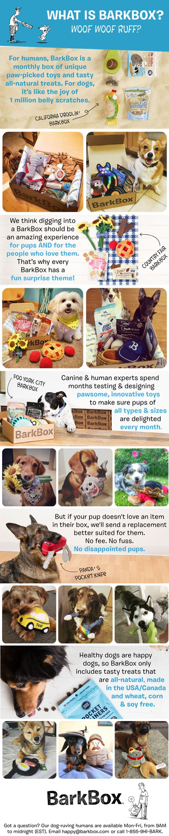 BarkBox is a monthly themed box of fun toys and all-natural treats and chews. Getting a BarkBox is easy, just go to BarkBox.com, choose a dog size and a plan length. Plans start at $20/month. Fetch BarkBox today!