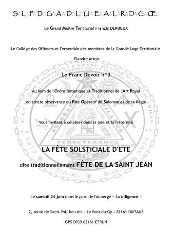 Fête de la Saint Jean – OITAR Hauts de France Le samedi 24 juin dans le parc de l'Auberge « La diligence » 2, route de Saint-Pol, lieu-dit « Le Pont du Gy » 62161 DUISANS – GPS D939 62161 ETRUN Info et réservation :f.deroeux@wanadoo.fr Voir le programme ci-dessous PROGRAMME 15h00: Accueil, avec tout au long de l'après-midi: – Animation, Exposition de peintures et photos. Pêche à la ligne. Brocante. Jeux pour grands et petits et plein d'autres surprises… – Démonstration: Travail de…