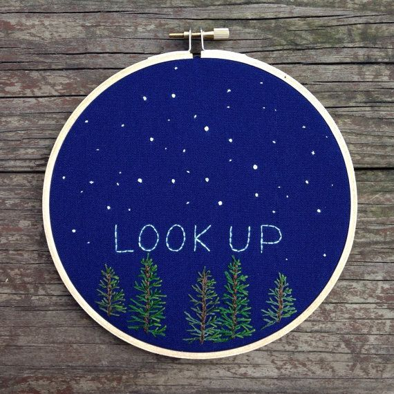 "Starry night embroidery scene, ""look up"" #embroidery #hoopart #stars"