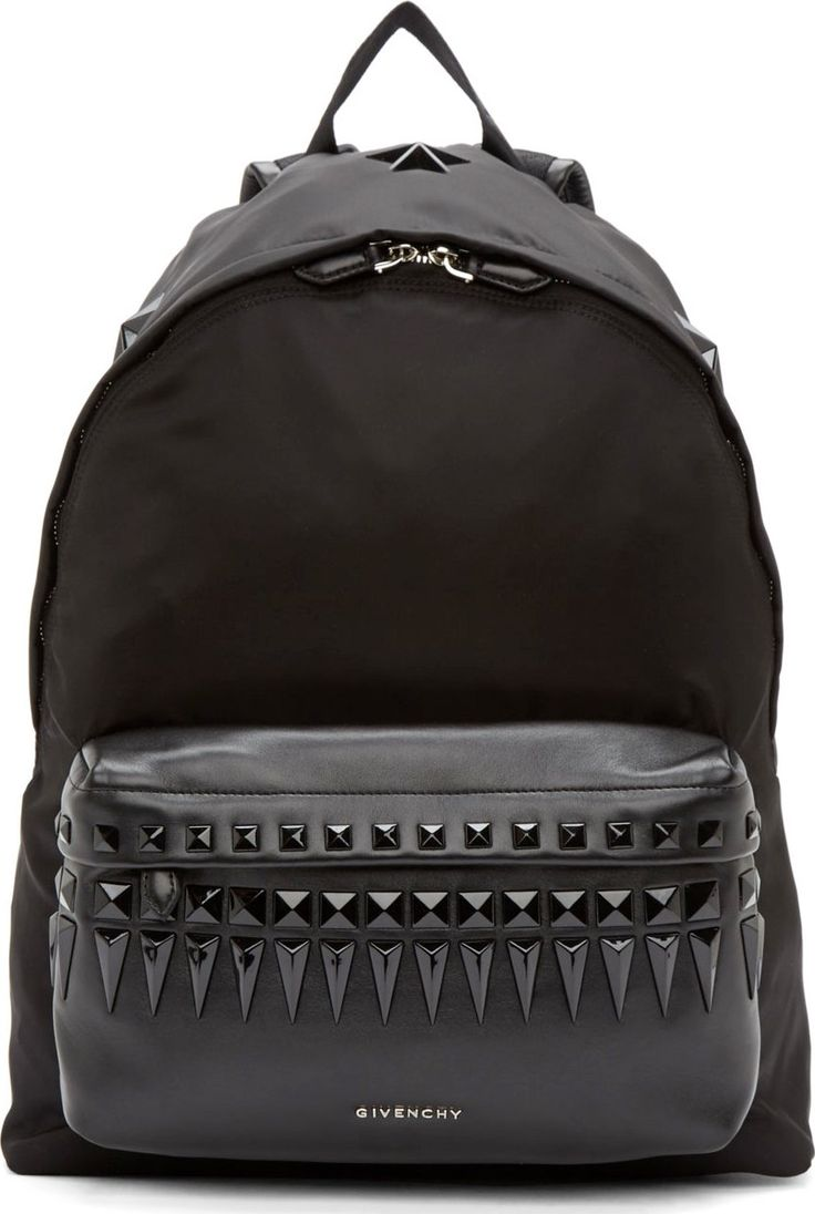 GOOD MORNING GOOD AFTERNOON & GOODNIGHT Givenchy - Black Studded Leather Trimmed Backpack