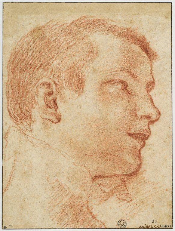 CARRACCI Annibale Ecole bolonaise  Portrait d'adolescent de profil à droite