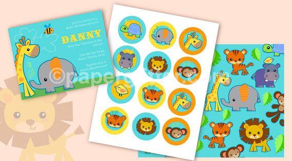 Jungle Safari Animal Printable Mini Party Kit   by paperglitter