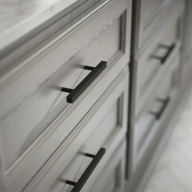 Flat Black Square Drawer Pulls Are Perfect For Both The Modern Farmhouse You Ve Been Dreaming Black Kitchen Cabinets Black Cabinet Hardware Matte Black Kitchen