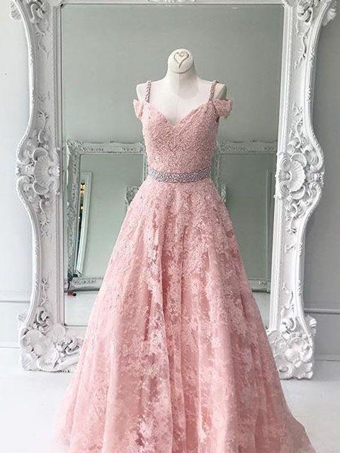 Elegant Pink Lace Long Prom Dress Evening Dress