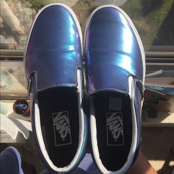 Patent Leather Vans Slip Ons iridescent holographic slip Ons that have been worn only a couple of times no real wear except light scuffs that can just be washed off and slight creasing Vans Shoes