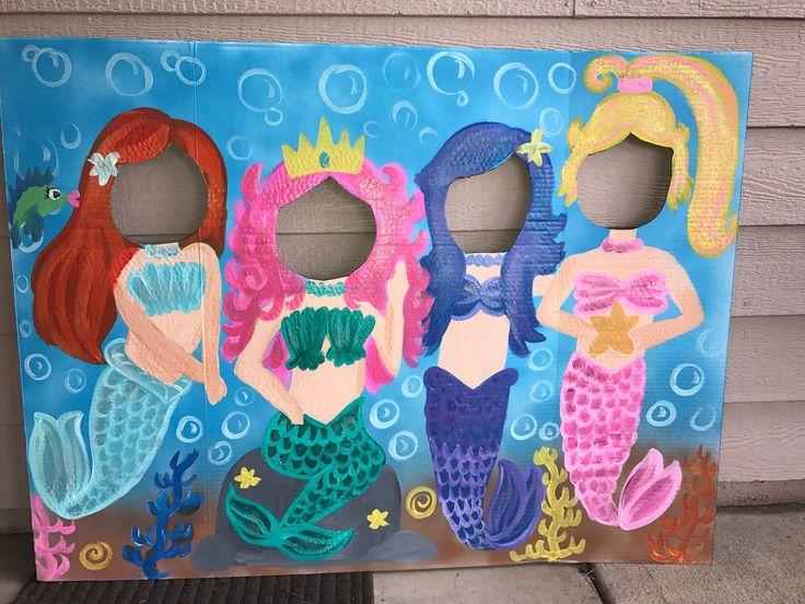 Meerjungfrau-Party – Meerjungfrau Geburtstag – Meerjungfrau Ausschnitt – Meerjungfrau Foto Stand In – Meerjungfrau Gesicht in das Loch – Meerjungfrau Hintergrund – Meerjungfrau Dekorationen