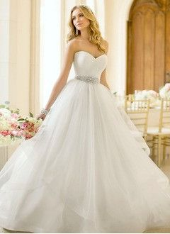 A-Line/Princess Strapless Sweetheart Court Train Organza Satin Wedding Dress With Ruffle Beading