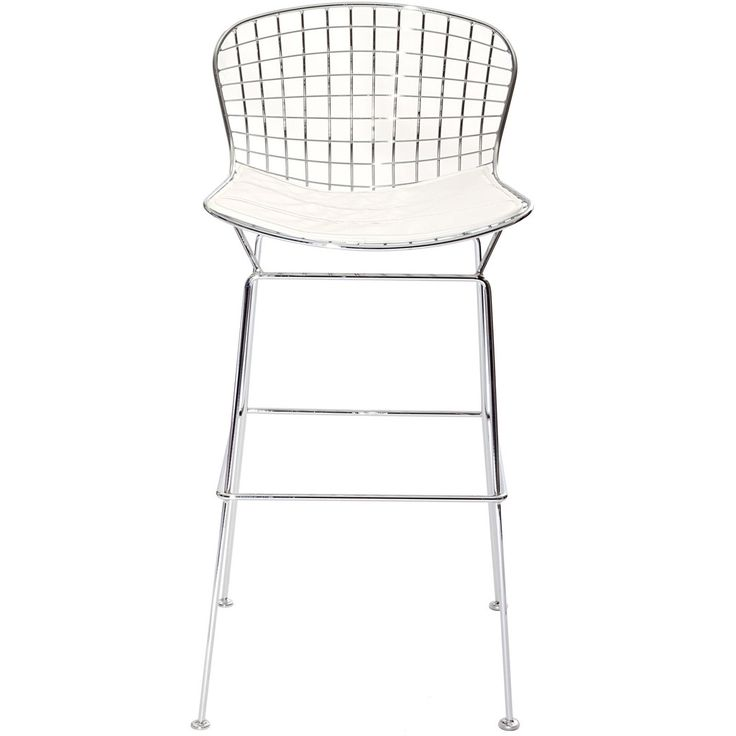 Bertoia Style Wire Bar Stool In Silver Frame White