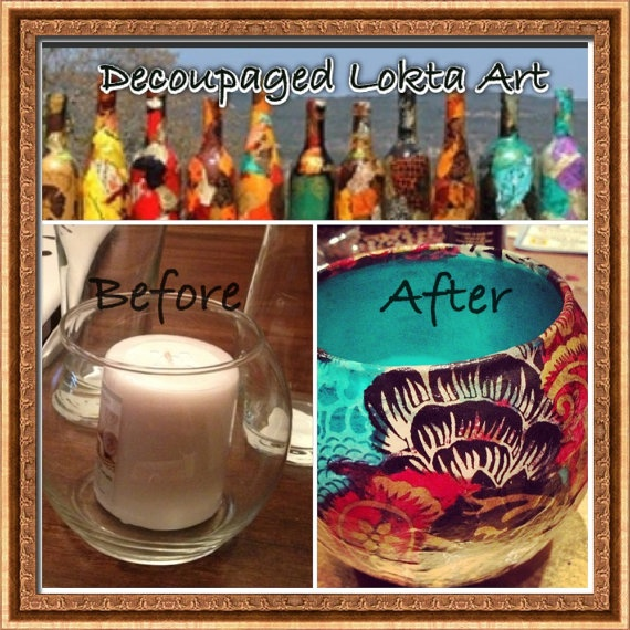 Lokta Paper Decoupage Glass Bowl Collage on by cutelittlecanvases, $15.00 #decoupage #art #home #colorful #glass #candle #before #after #diy #craft