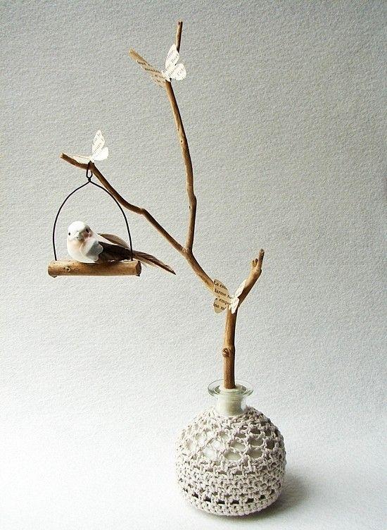 deco branch - bird - crochet