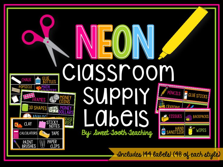 144 Chalkboard & Chevron Classroom Supply Labels (Includes ENGLISH & SPANISH versions)