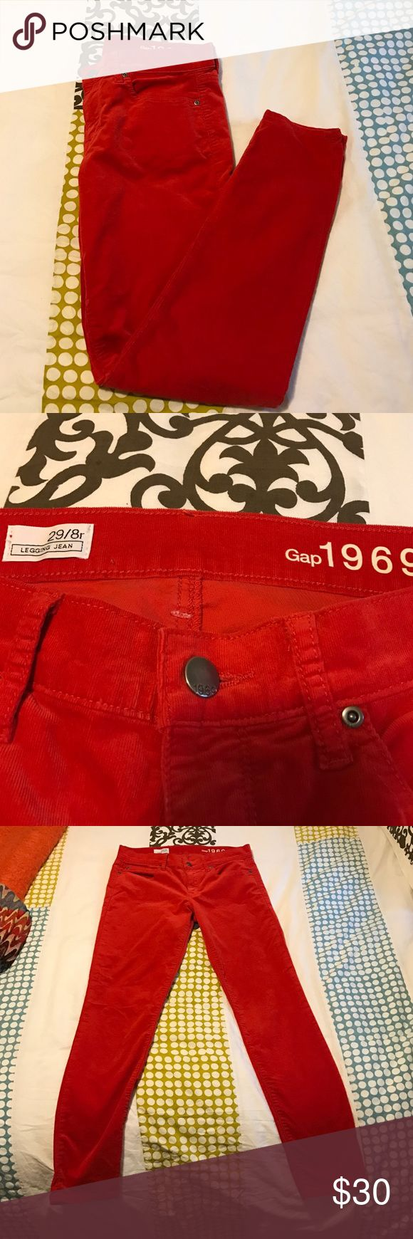 Gap Red legging Cords Cute red Cords! Great condition! GAP Pants Skinny