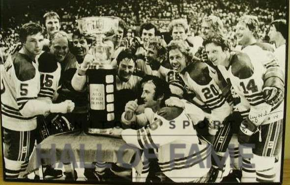 The Winnipeg Jets Hockey team with the Avco Cup. The picture is autographed by Ulf Nilsson