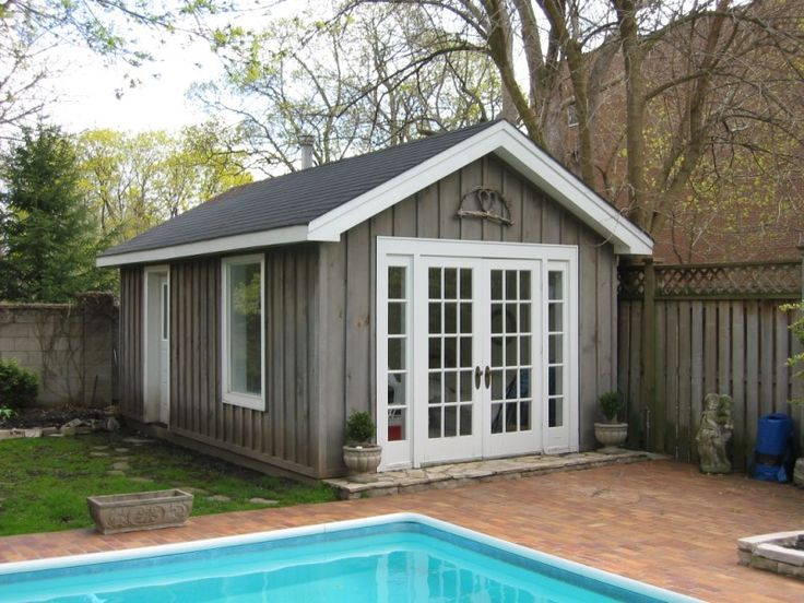 Pool shed pool house sheds prefabricated pool houses for Shed into pool house