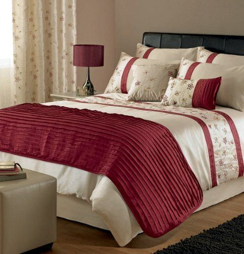 Stunning Cream Red Gold Embroidered Cotton Super King Size