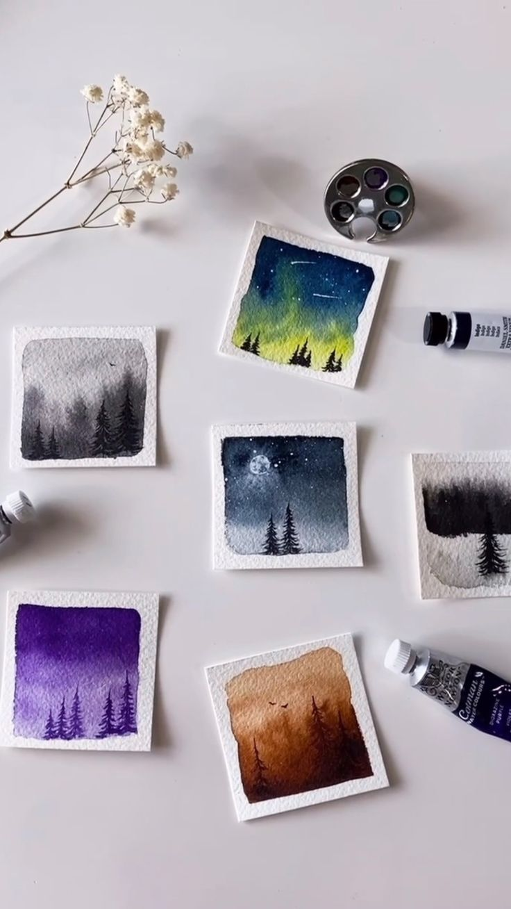 Watercolor Landscape, Watercolour Painting, Watercolors, Night Sky Photos, Birthday Card Drawing, Mini Canvas Art, Amazing Art, Awesome, Painting Of Girl