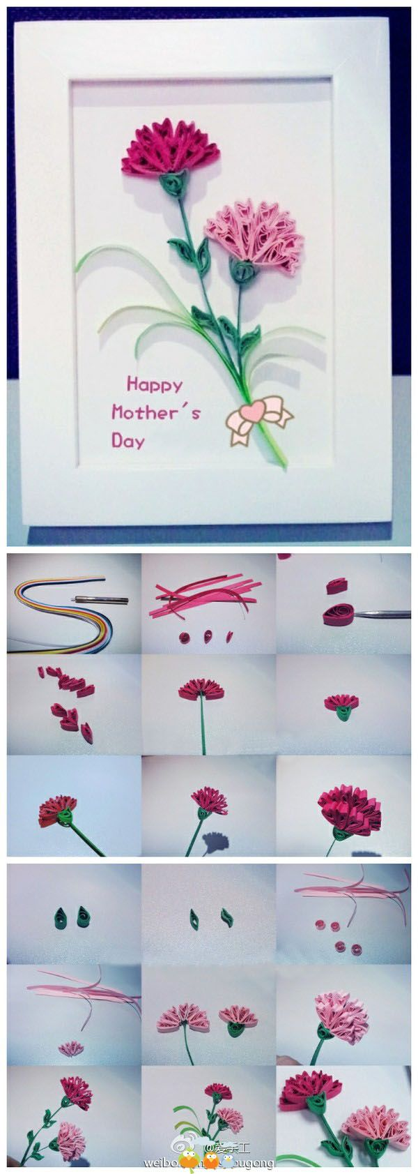 DIY Mothers Day Card- With Quilled Flowers