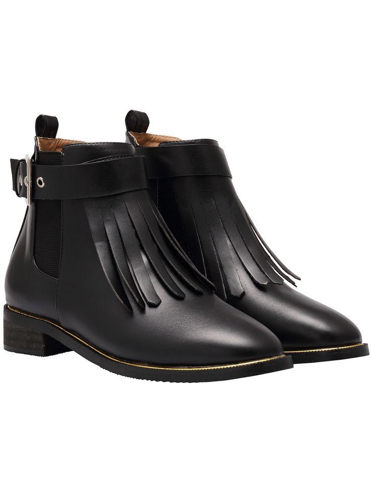 Black Chunky Heel Tassel PU Boots 38.80