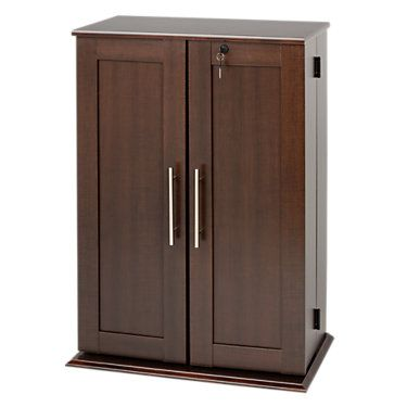 Small Locking Media Storage Cabinet with Shaker Doors