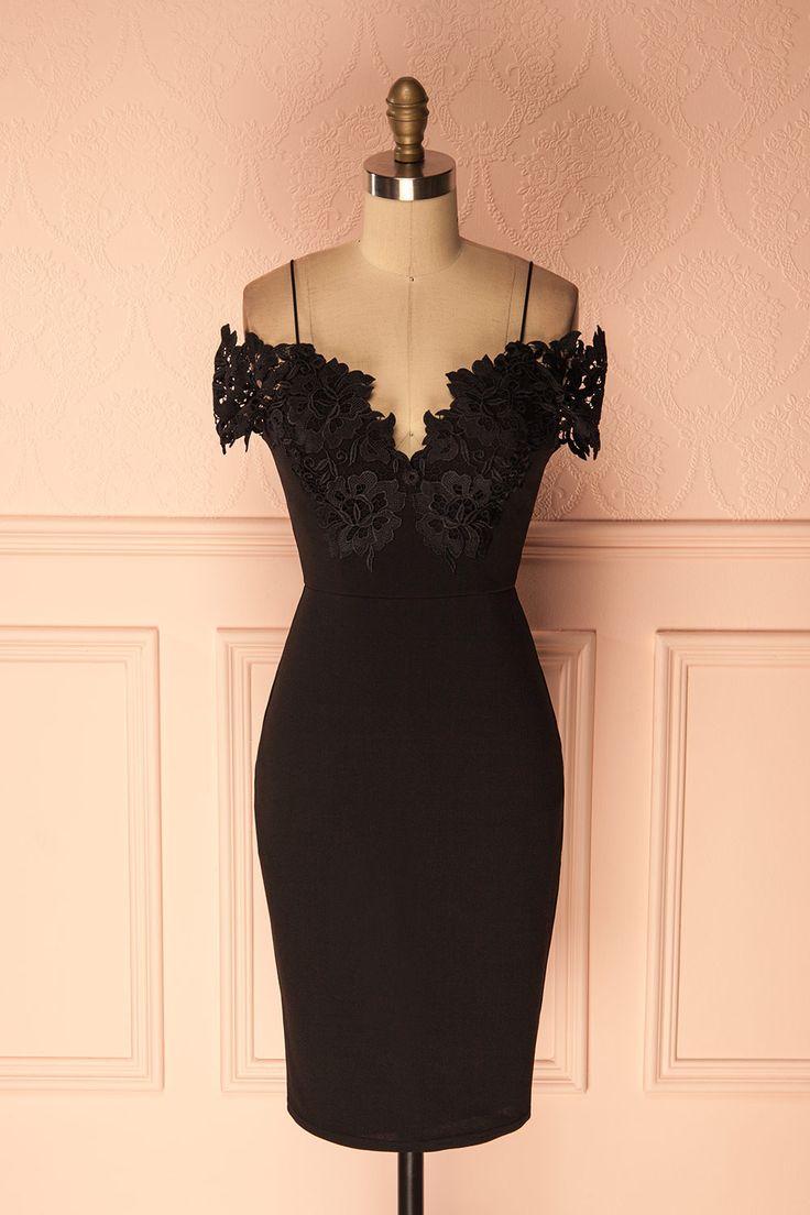 Black off-shoulder fitted cocktail dress - Robe cocktail noire ajustée à épaules dégagées