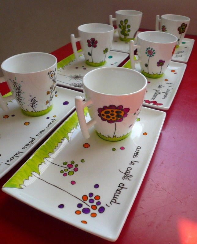 Ensemble tasses à café gourmandes : 8 € la tasse et la coupelle