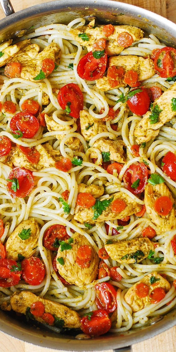 Pesto Chicken, Tomatoes, and Carrots with Basil Pesto and Parmesan Noodles - Mediterranean style pasta dish. I used gluten free spaghetti pasta! #BHG #sponsored
