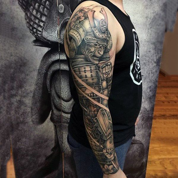 man with samurai in full armor full sleeve shaded tattoo. Black Bedroom Furniture Sets. Home Design Ideas