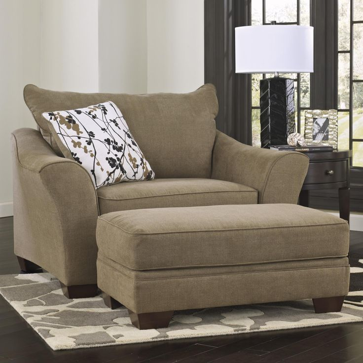 ottoman for living room%0A Chair and a Half  u     Ottoman Mykla  Shitake  by Signature Design by Ashley