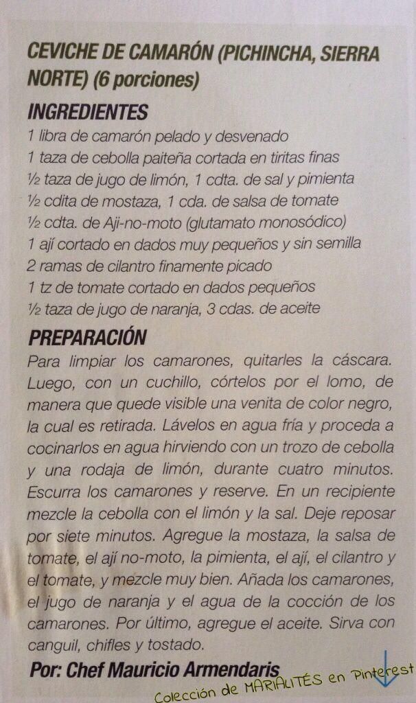 Recetas de cocina ecuatoriana. Ceviche de camarón