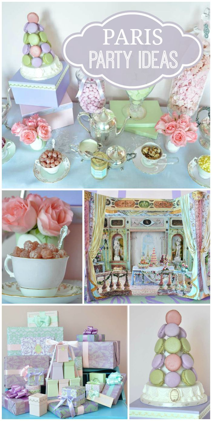 A Ladurée Paris 1st Birthday Tea Party with gorgeous pastel macarons and decorations!  See more party planning ideas at CatchMyParty.com!