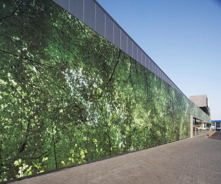 "Custom-made MEG Digital Print façade cladding: Landscape as a sign-board.  Project ""Gardencenter Pelckmans"" Turnhout/Belgium"