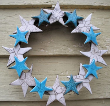Raku-fired star wreath by Rik Rolla