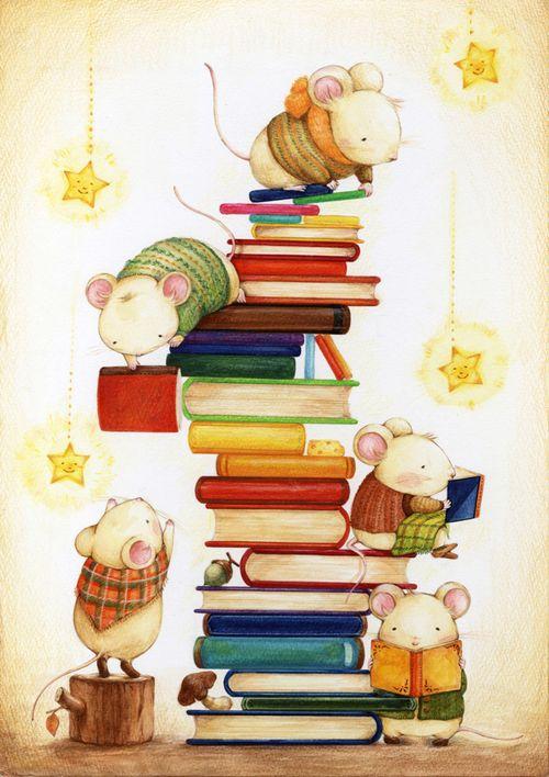 Cute mice loving books.