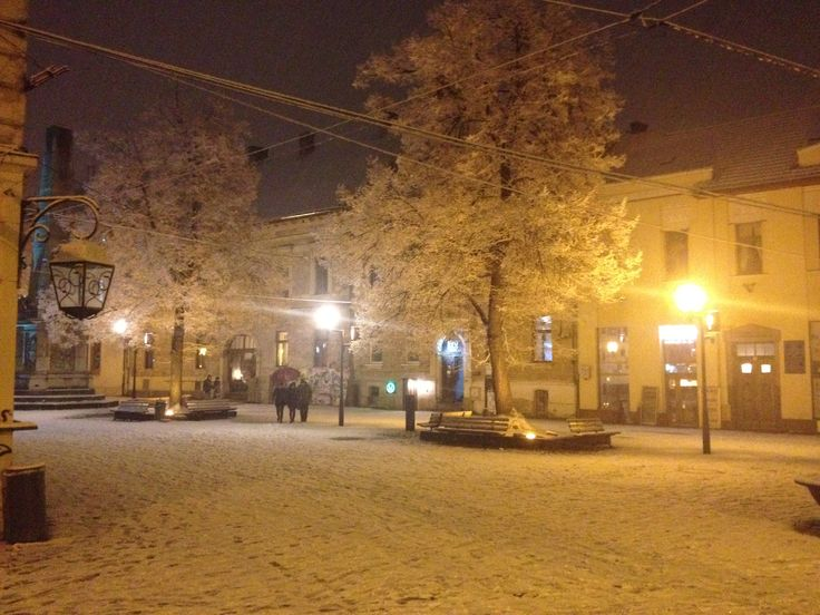 Charming February snowing in the Museum Square in Cluj-Napoca! - 22Rey.com  #Cluj2015 #ShareCluj #Cluj #MuseumSquare