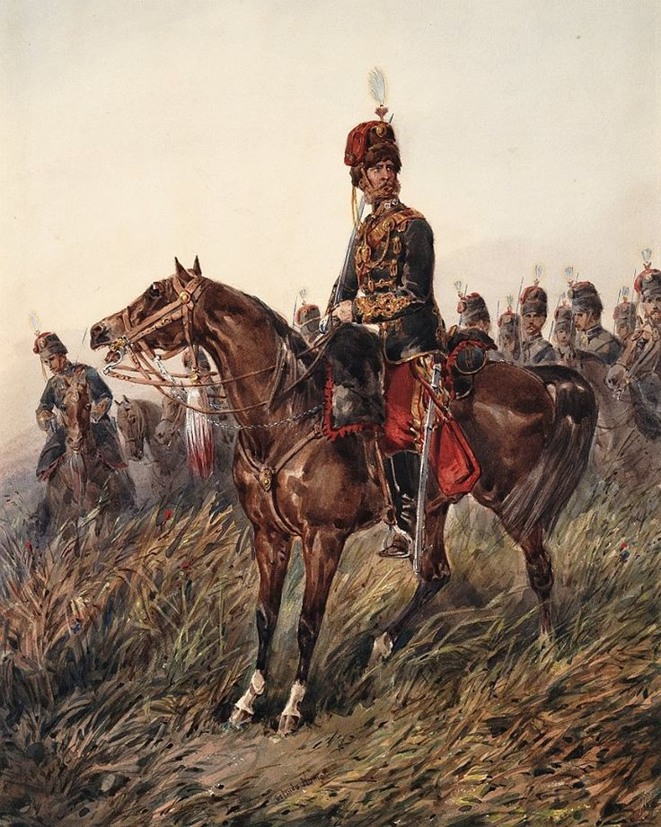 British; 11th Prince Albert's Own Hussars, Officer 1860 by Orlando Norie