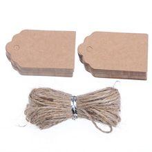 100 unids Natural Brown Kraft Paper Tags con Jute Twine para regalos DIY artesanías precio etiquetas de equipaje etiquetas etiquetas de nombre(China)