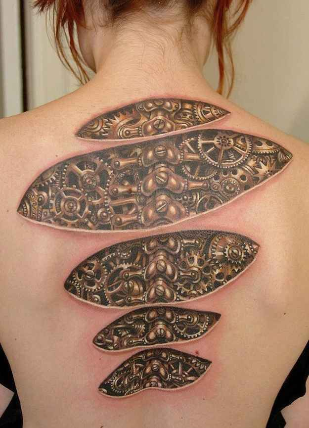 Clockwork lady never has an excuse for being late for work. | 18 Optical Illusion Tattoos That Will Make You Take A Second Look