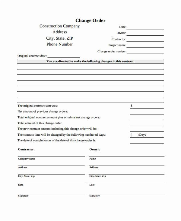 Contractor Change Order Forms With Images Order Form Bible
