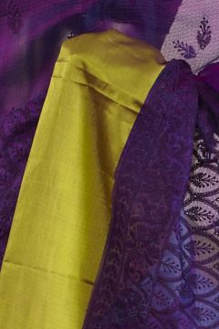 kota silk dark violet purple saree with blouse