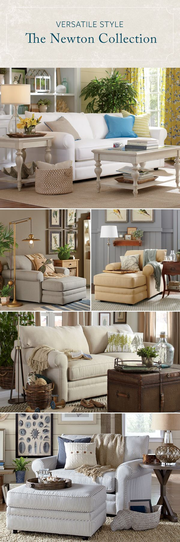 With rolled arms, loose back pillows, and welted trim, the Newton Upholstery Collection defines clean and simple design. Each piece is available in more than 30 fabric options, so you can easily customize this classic look to fit your space. Shop the collection today and enjoy Free In-Home Delivery on your order.