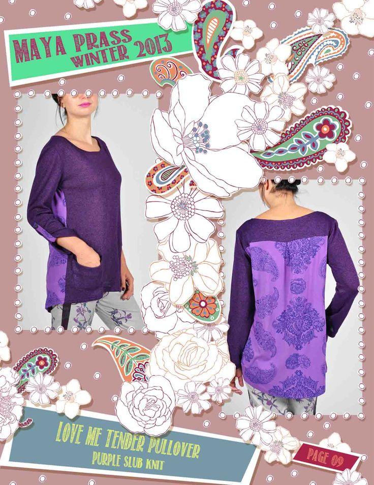 Love-me-Tender pullover purple melange cut & sew knit