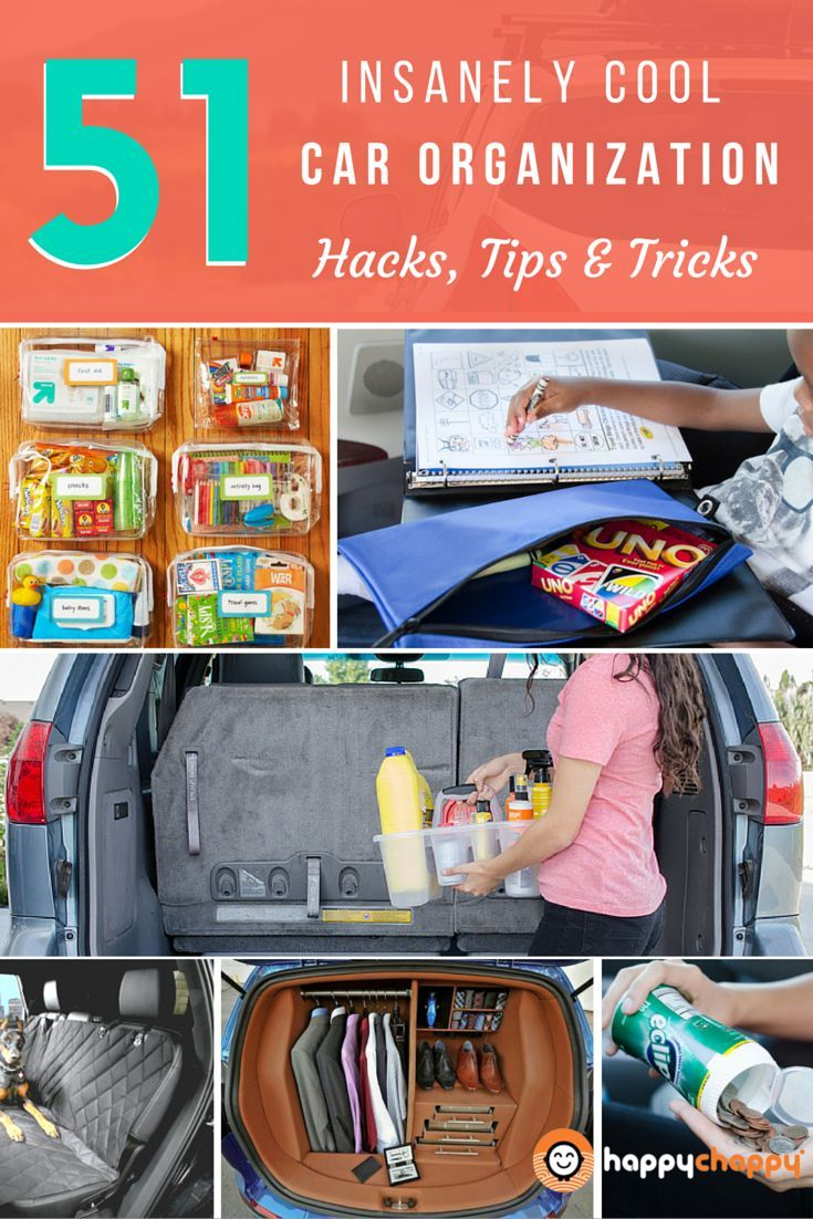 51 Insanely Cool Car Organization Hacks, Tips & Tricks. Featuring Tips by @byjillee, @familyfocusblog, @organize365, @4knines @orgjunkie