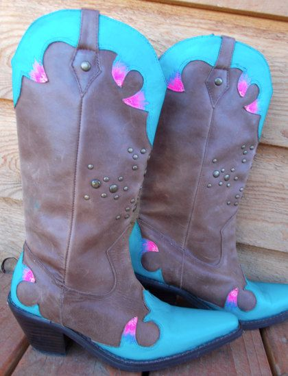 Cool Brown Cowgirl Boots With Hand Painted Multicolored Design Following
